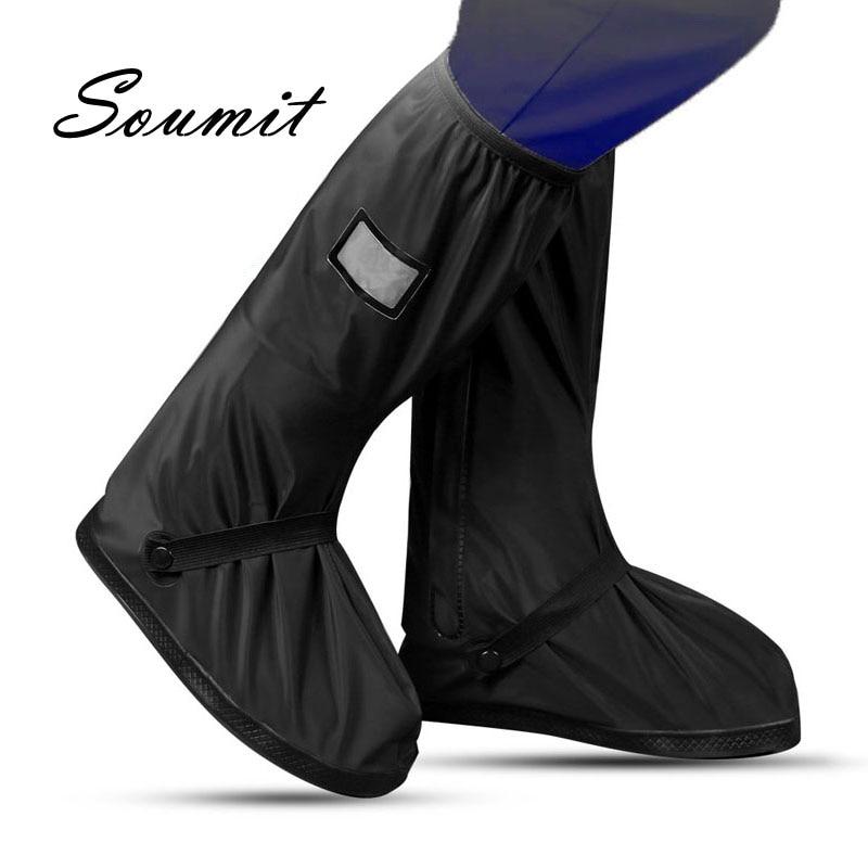 Soumit-funda para zapatos de ciclismo, resistente al viento y a prueba de agua, botas para la lluvia, fundas de calzado reutilizables en color negro, para hombre y mujer