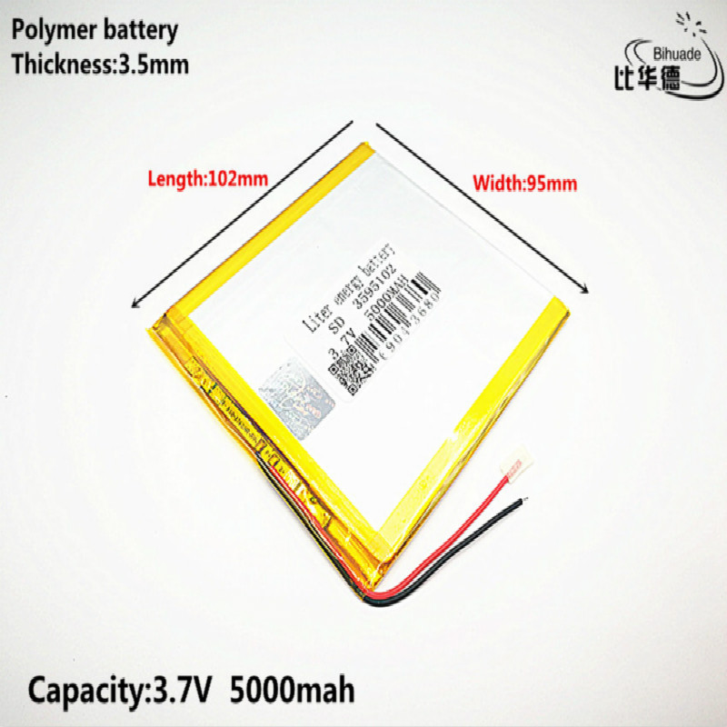Liter Energy Battery Good Qulity 3.7V,5000mAH 3595102 Polymer Lithium Ion / Li-ion Battery For Tablet Pc BANK,GPS,mp3,mp4