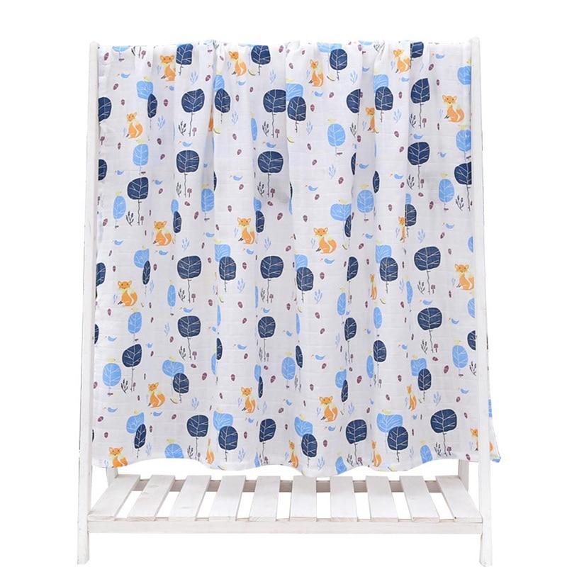 †Hot DealsBlanket Towel Swaddle Gauze-Wrap Trolley Baby Double-Layer Cotton Print 120cm--110cm