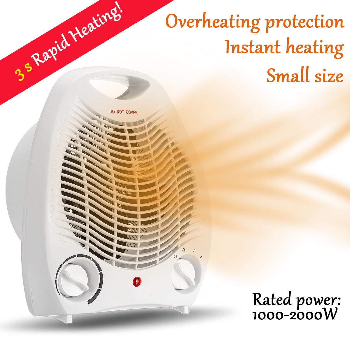 2000W Portable Electric Space Heater Fan 220V Eersonal Space Warmer Electric Radiator 3 Heating Setting Winter Warmer Machine