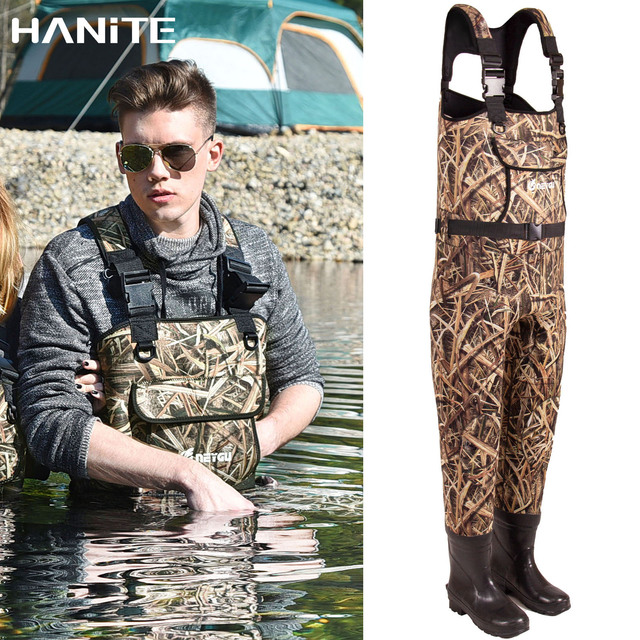 HANITE 5mm Waterproof Thermal  Neoprene Wader with Rubber Boots for Fishing, Hunting, useful in rainy,snowy and flood weather 1