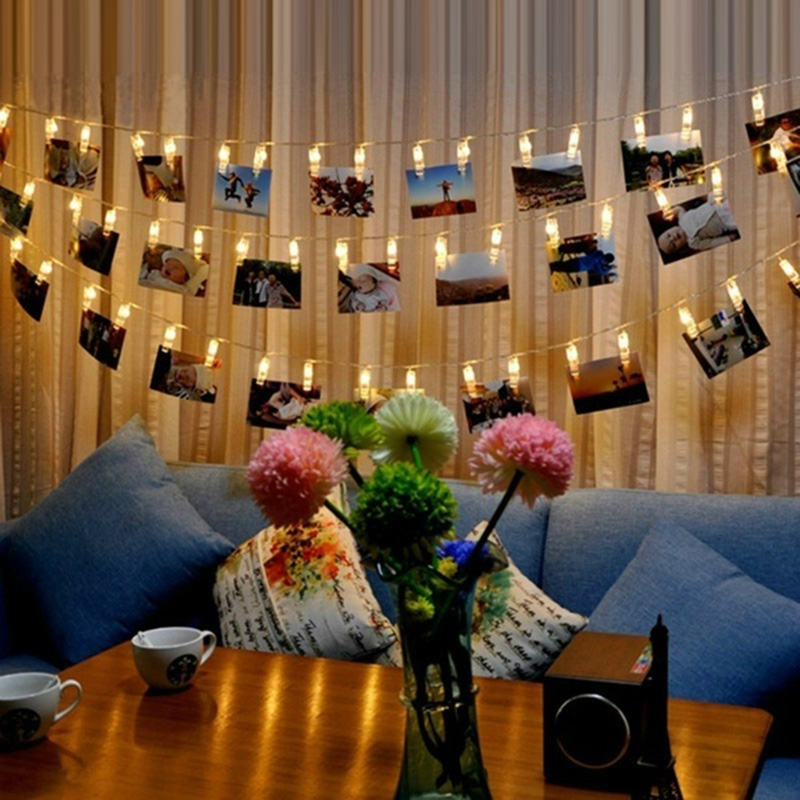 Battery Powered Wall Decoration Celebration Photo Clips String Lights NEW Creative Hanging Photos Lamp Paintings Pictures Card
