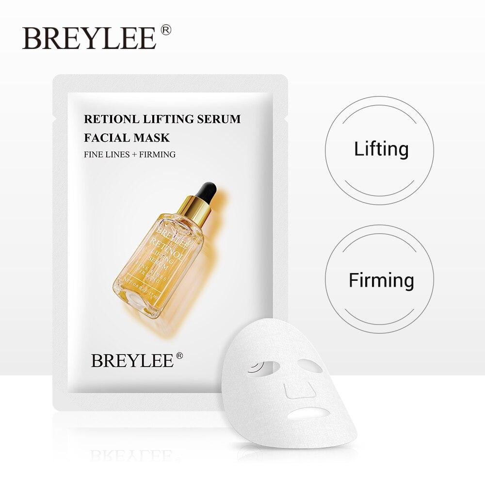 BREYLEE Retinol Face Sheet Mask Serum Moisturizing Anti-Aging Skin Care Fade Fine Lines Wrinkles Facial Mask Lifting Firming 1pc