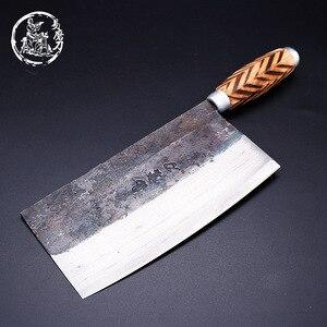 Image 5 - SHUOJI el yapımı çin mutfak bıçakları yüksek karbon dövme mutfak Cleaver ahşap saplı dilimleme bıçağı geleneksel pişirme araçları
