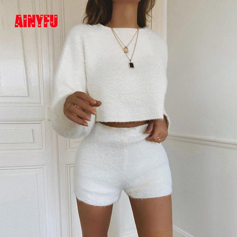 Autumn Women Two Piece Set Long Sleeve Fleece Crop Top And Short Pants Ladies Bodycon Shorts Streetwear Warm Sweater Tracksuit