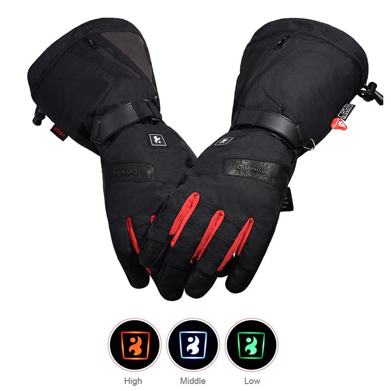 TWTOPSE cyclisme électrique chaud Sport gants avec batterie externe imperméable en peau de mouton vélo ski Snowboard randonnée hommes gants d'hiver