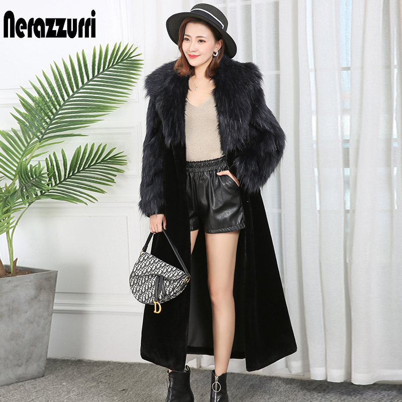 Nerazzurri Winter faux fur coat women notched label raglan sleeve black extra long fluffy plus size patchwork fake fur outwear