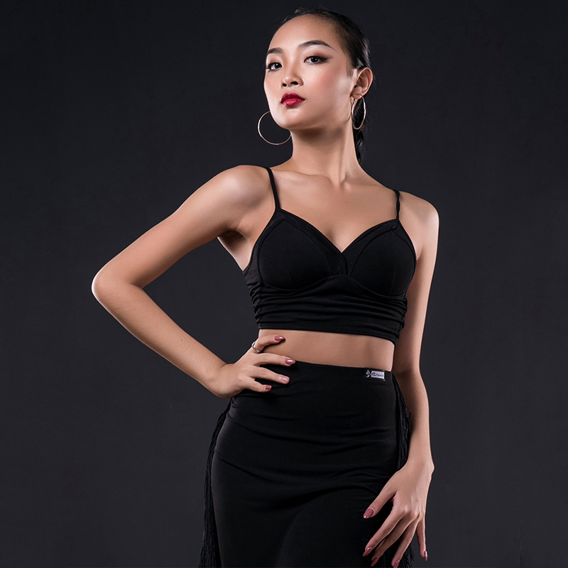 2019 Latin Dance Costumes Practice Clothes Sports Bottoming Shirt Straps Sexy Latin Dance Tops Dress Performance Clothing DQS31