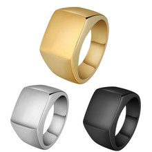 Luxury Square Steel Men Rings Classic 3 Colors Stainless Steel Smooth Finger Rings For Men Jewelry Gift