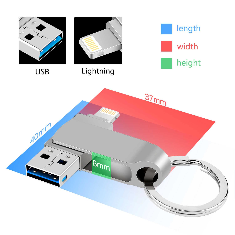 USB Flash Drive Per il iPhone Pen Drive 16GB 32GB 64GB 128GB Usb del Bastone del usb 3.0 per iPhone X/8/7/7 Plus/6/6s/5/SE/ipad