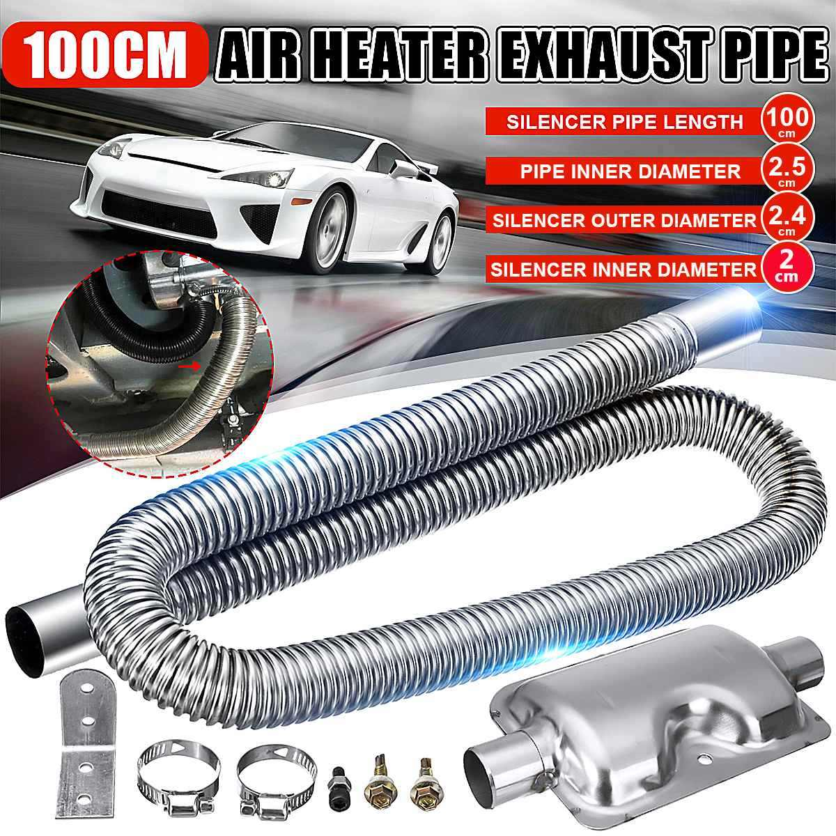 Color : 2pcs Easy 2//4pcs 42mm Fit for Car Heater Ducting Pipe 100-200cm Diesel Parking Heater Duct Aluminum Foil Warm Air Intake Pipe Satisfaction