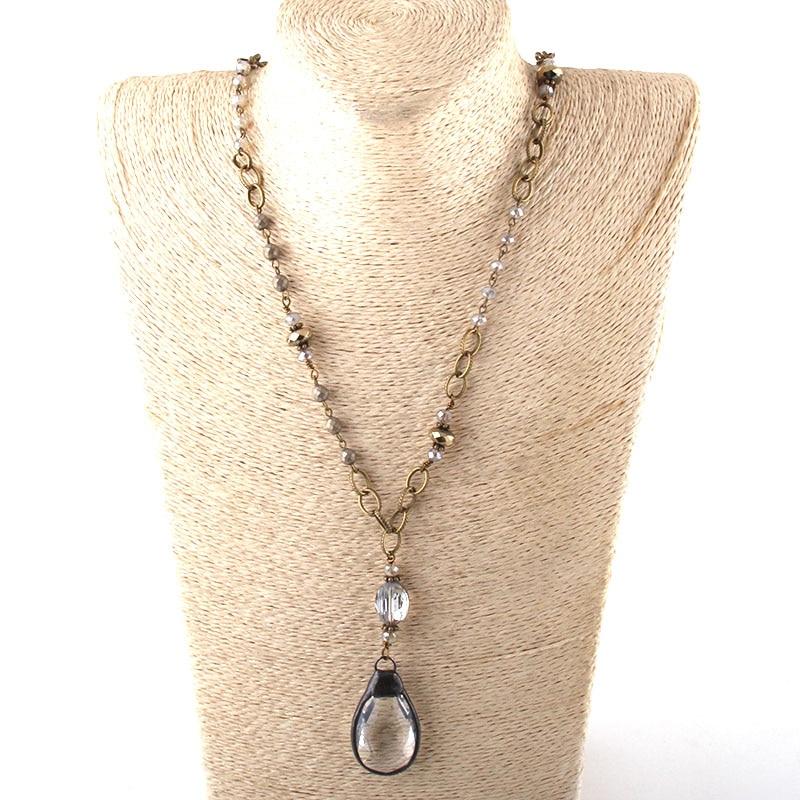 Модные богемные ювелирные изделия Античный камень цепочка со стразами кристалл кулон ожерелье s для женщин национальное ожерелье - Окраска металла: 5