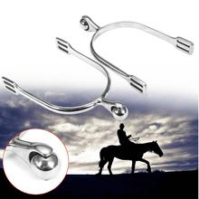 1 Pair Stainless Steel Walking Western Horse Spurs Riding Cowboy Antique Silver