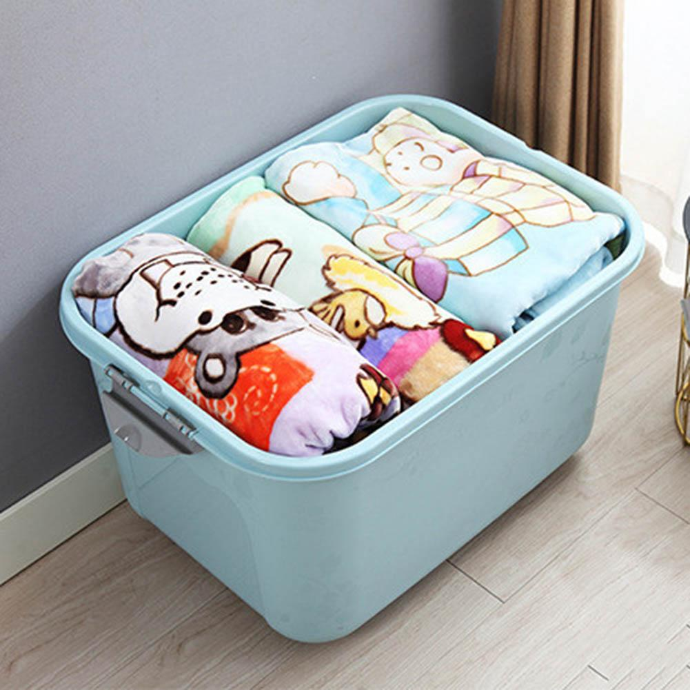 Clothes Storage Box Big Home Solid Color Plastic Quilt Clothes Sundries Container Family Save Space Organizador Bed Under Closet