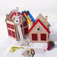 Christmas Wooden Small House Candle Holder Room Decoration Home Accessories