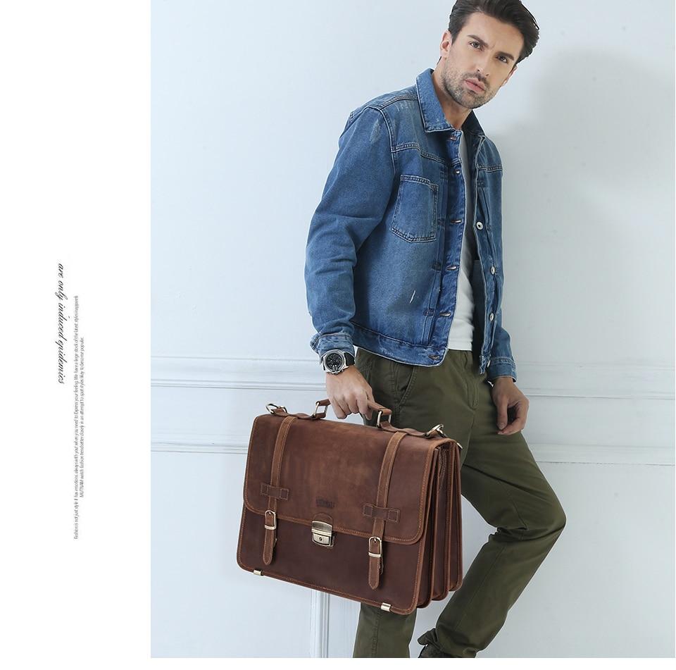 CONTACT'S Men's Bag Crazy Horse Leather Briefcase Men Business Bag For 14 2