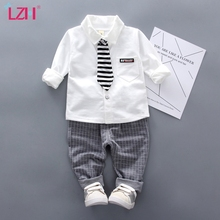 LZH Baby Boys Clothing 2020 Autumn Children Clothing Toddler Boys Clothes Costume Shirt+Pant Suit 2Pcs Set Kids Clothes 1-4 Year cheap Fashion CN(Origin) O-Neck Sets Pullover Polyester Cotton Unisex Full Regular Fits true to size take your normal size Coat