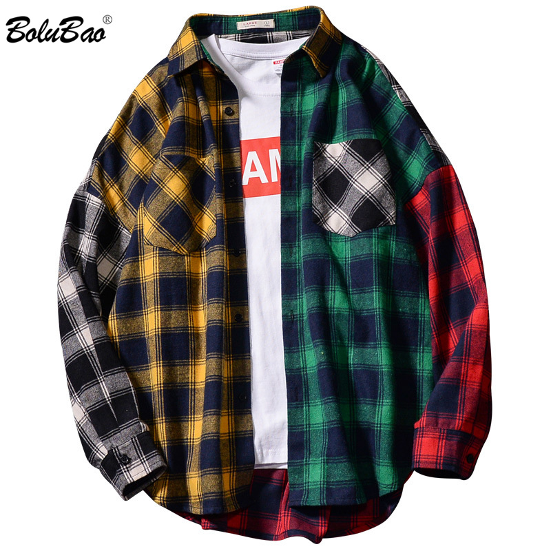 BOLUBAO Men's Lapel Plaid Shirts Fashion Brand Male Trend Simple Shirt Spring Autumn New Men Stitching Style Shirt
