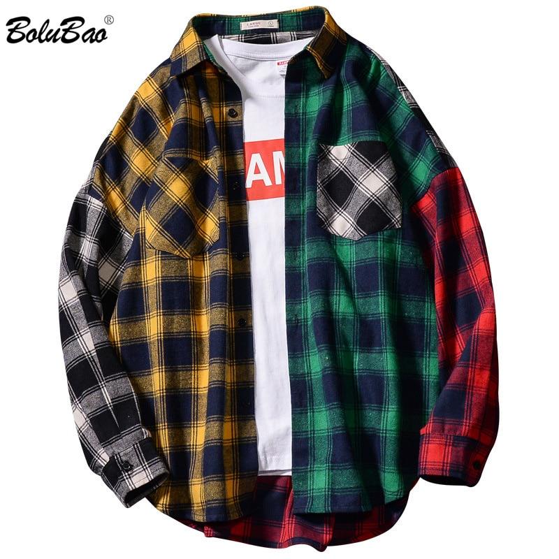 BOLUBAO Men's Lapel Plaid Shirts Fashion Brand Male Trend Simple Shirt Spring Autumn New Men Stitching Style Shirt