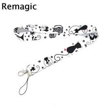 Black cat animal cartoon vintage 90s Neck keychain necklace Anime Cartoon Strap Lanyard ID badge holder Keychain Lanyards
