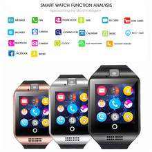 q18 bluetooth smart watch men with camera facebook whatsapp twitter sync sms smartwatch support sim tf card for ios android