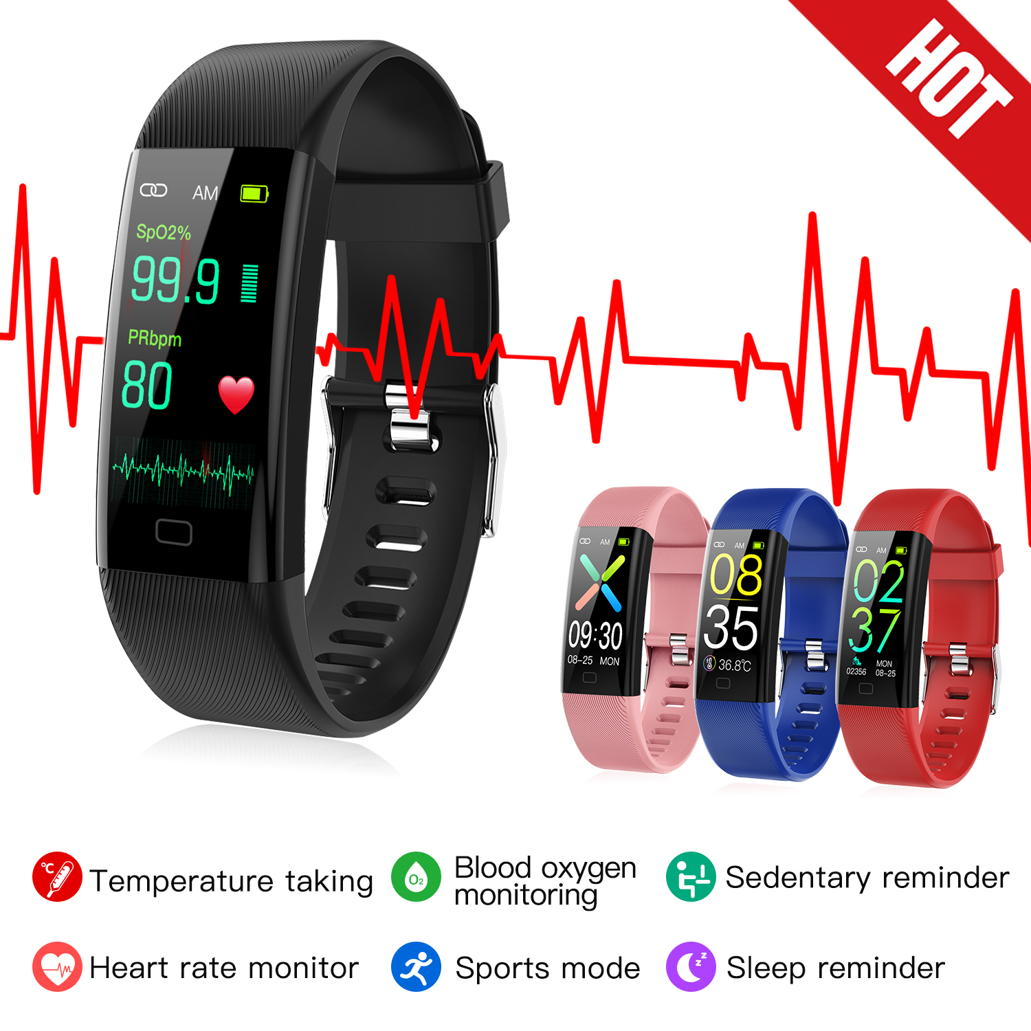 Smart watch Fitness Trackers Heart Rate Monitor Pulse Oximeter thermometer blood pressure smart bracelet for iPhone Xiaomi 1