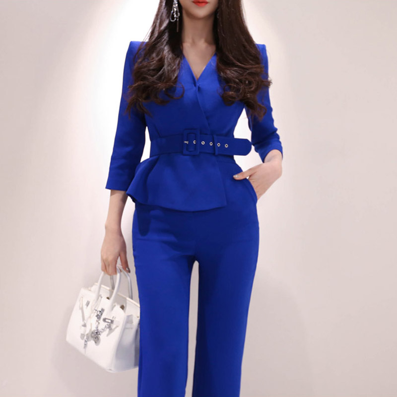 Jumpsuit Women Luxury Blue V Neck With Belt Ruffles Office Overalls 2020 Spring Work Business Long Sleeve Wide Leg Jumpsuit
