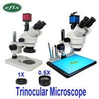 Microscopio Trinocular para reparación de teléfono, cámara Digital, lente LED, herramientas de soldadura de teléfono, 3,5-45X, 13MP, HDMI, VGA /22MP, 38MP, USB, TF, HD
