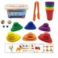 69 шт., Монтессори, радужные гальки, Обучающие игрушки, пластиковые гальки, укладка камней, игра Монтессори, игрушка для детей