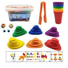 69 pçs montessori arco-íris seixos brinquedos educativos de plástico pedras empilhadas jogo montessori brinquedo para crianças