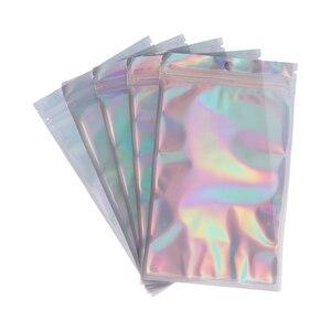 8 sizes 20Pcs/pack Zip lock Plastic Bag Aluminum Foil Hologram Food Pouch Small Water Proof Zipper Reclosable Pouches(China)