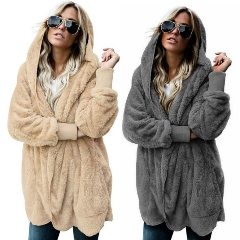Autumn Winter Jacket Female Coat Causal Soft Hooded Pocket Zipper Fleece Plush Warm Plus Size Faux Fur Fluffy Women Jacket
