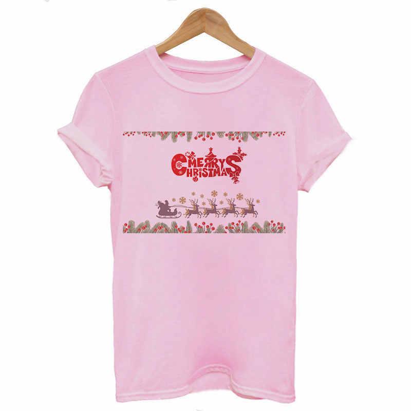 Harajuku Feliz Navidad para mujeres manga corta Camiseta Kawaii estética estampado de Papa Noel moda Vintage ropa mujer Tops