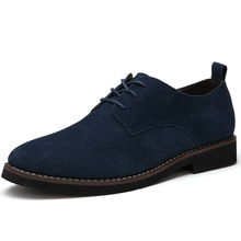 Hot Plus Size 39-48 Men Shoes Genuine Leather Casual Flats Waterproof Dress Oxford Man Suede Shoes Classic Lace Up Work Loafer