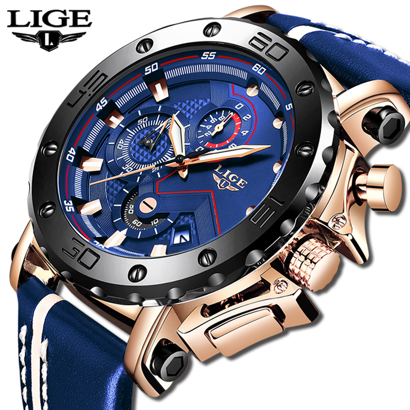 2020 LIGE Mens Watches Top Brand Luxury Fashion Military Quartz Watch Men Leather Waterproof Sport Chronograph Relogio Masculino