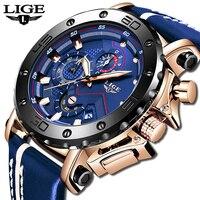 2020 LIGE Mens saatler üst marka lüks moda askeri Quartz saat erkek deri su geçirmez spor Chronograph Relogio Masculino