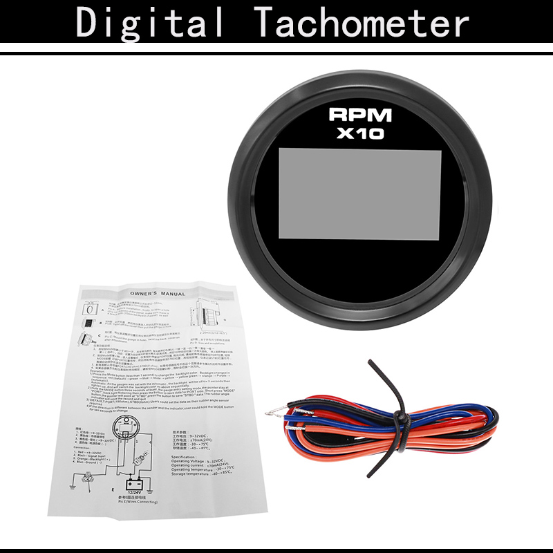 8 Colors Backlight 0-9990 RPM Car Boat Digital Tachometer With Hour meter Fit For Diesel Motorcycle Truck Marine 52MM 9-32V