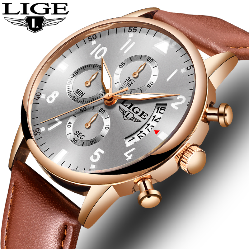 Super Beautiful Rose Gold Men Watches Top Brand Luxury Leather Waterproof Quartz WristWatch LIGE Men Sport Date Male Chronograph