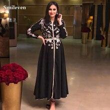 Черный марокканский кафтан smileven официальное вечернее платье