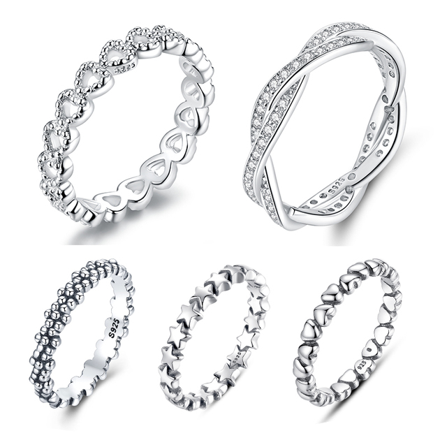 WOSTU Hot Sale 100% 925 Sterling Silver Styles Stackable Ring Party Finger Wedding Rings For Women Original Fashion Jewelry Gift