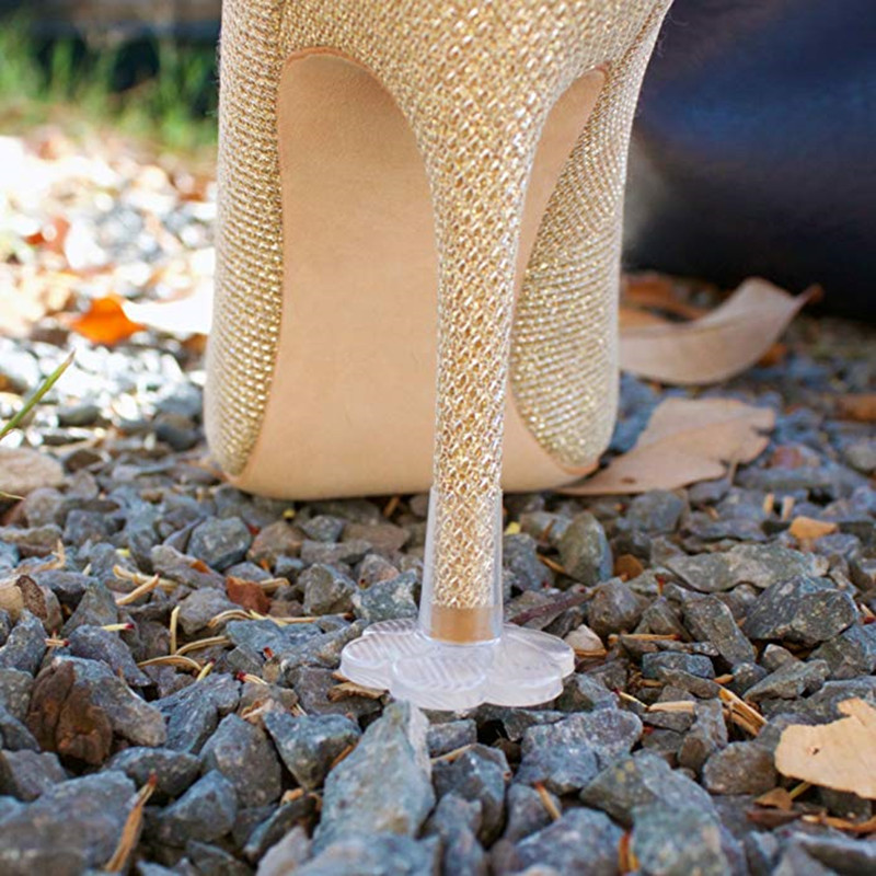5 Pairs High Heel Protectors Latin Dance Stiletto Covers Heel Antislip High Heeler PVC Caps Trasparent Wear-resistant Soft Base
