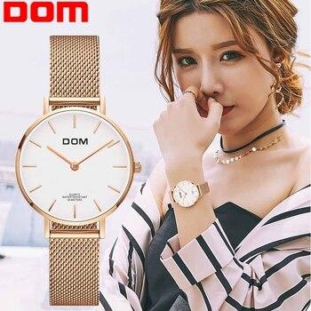 Women Watch  DOM Top Brand Luxury Quartz watch Casual quartz-watch leather Mesh strap ultra thin clock Relog