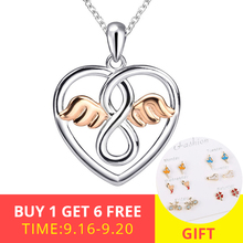 2018 new design 925 sterling silver love heart shape angel pendant chain necklace diy fashion jewelry making for women gifts