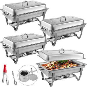 Image 1 - 食品擦過皿 4 個 9Lステンレス鋼フルサイズコガネムシビュッフェ水パン燃料ホルダーやふたケータリングウォーマー