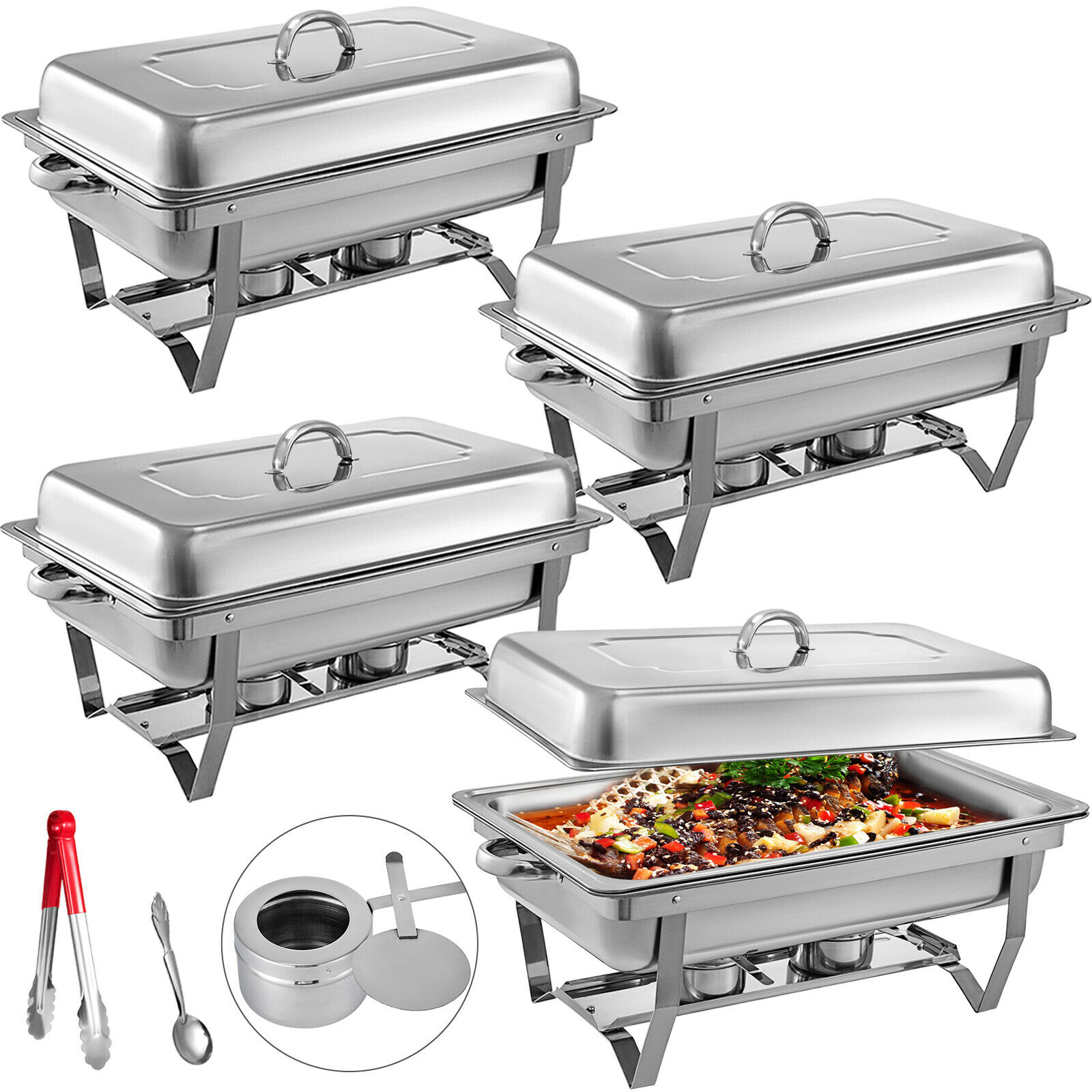 Food Chafing Dishes 4 Quart Stainless Steel Full Size Chafer Buffet Set Water Pan Fuel Holder And Lid For Catering Warmer