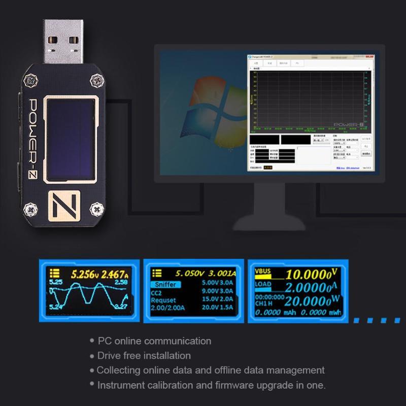Current Digital 0 Qc3 C Z Bank Ripple Ammeter 0 POWER Tester Type 2 PD Meter Voltmeter ChargerLAB Detector KM001C USB Voltage