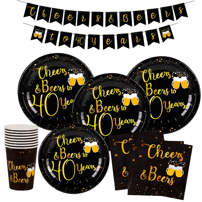 Black Gold Disposable Tableware Happy <font><b>Birthday</b></font> Party Decoration Happy 30th 40th 50th 60th <font><b>70th</b></font> 80th 90th <font><b>Birthday</b></font> Party Supplies image