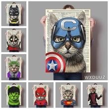 Super héroe gato y perro habitación de los niños decoración de la pared del dormitorio cartel abstracto vintage decoración del arte pintura de calidad pintura de la lona