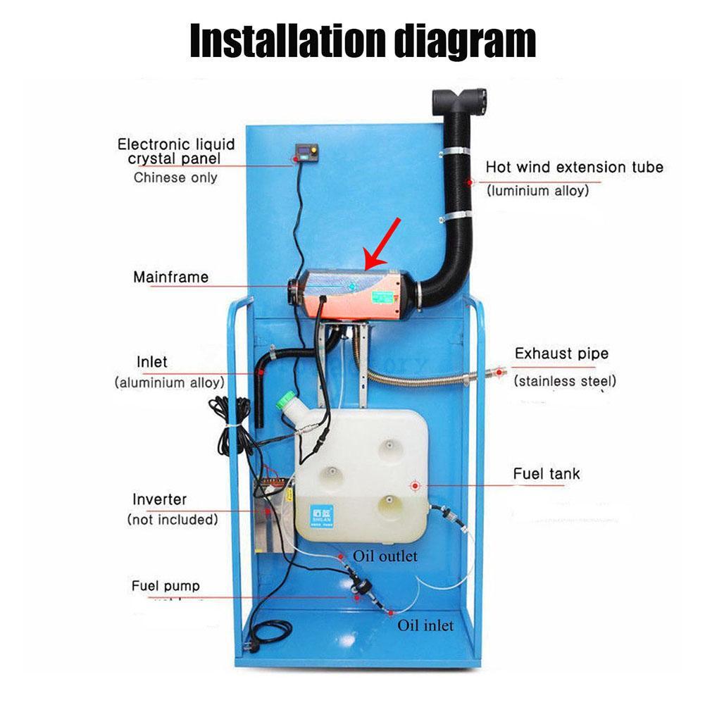 Calentador de aire Diesel 12v 5KW ventilador de calefacción calentador de coche limpieza de la nieve y descongelador de vidrio del coche con pantalla LCD + silenciador de Control remoto - 5
