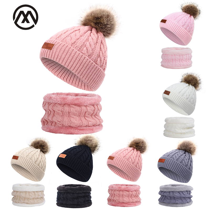 Cute Children's Knit Hat Scarf Suit Outdoor Casual Peas Boy / Girl Pompom Hat Leather Standard Twist Hat Winter Warm 2 Piece Set